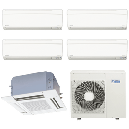Ar Condicionado Multi Split Daikin Advance 4x 9.000 + Cassete 4 Vias 1x 18.000 BTUs Quente / Frio 220V