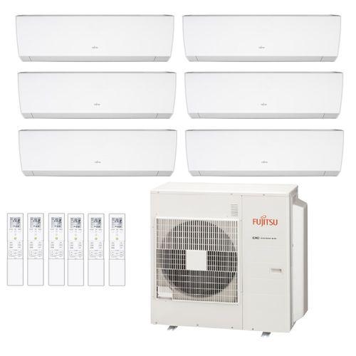 Ar-Condicionado Multi Split Inverter Fujitsu 45.000 BTUs (2x Evap HW 7.000 + 2x Evap 9.000 + 2x Evap 12.000) Quente/Frio 220V