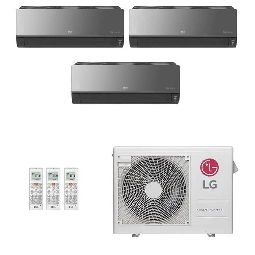 Ar-Condicionado Multi Split Inverter LG 24.000 BTUs (3x Evap HW Artcool 7.000) Quente/Frio 220V