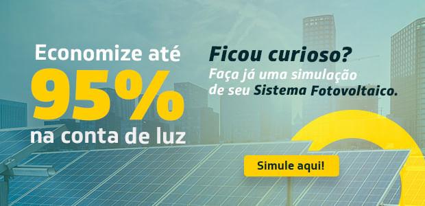 Economize até 95% em sua conta de energia. Faça uma simulação de seu sistema fotovoltaico.