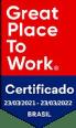 Selo do Certificado GPTW.  Melhores lugares para trabalhar